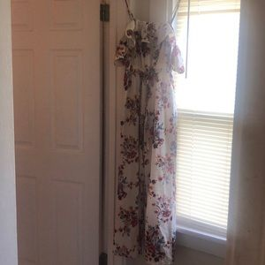 Pants - floral off the shoulder jumpsuit